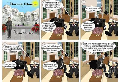 Obama N Freud I Art Print by Kevin  Marley