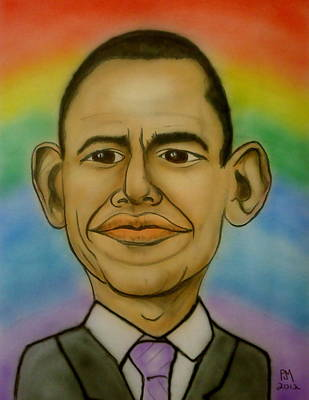Us Presidents Drawing - Obama Rainbow by Pete Maier