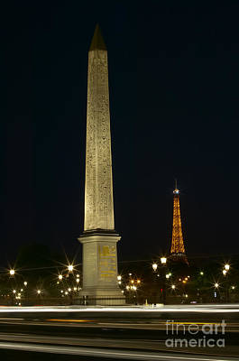 Photograph - Obelisk Of Luxor And Eiffel Tower At Night by Clarence Holmes