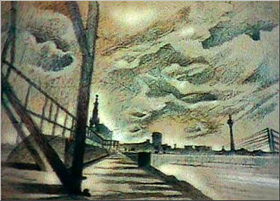 Drawing - Oberkassel Bridge 1982 by Glenn  Bautista