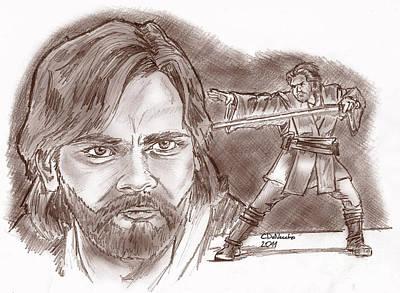 Drawing - Obi Wan Kenobi Episode II by Chris  DelVecchio