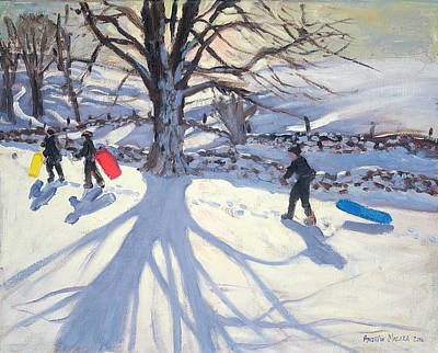 Winter Landscape Painting - obogganers near Youlegrave by Andrew Macara