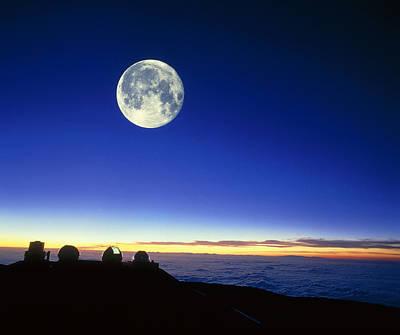 Keck Telescope Photograph - Observatories At Mauna Kea, Hawaii, With Full Moon by David Nunuk
