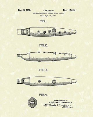 Licorice Drawing - Ocarina 1938 Patent Art by Prior Art Design