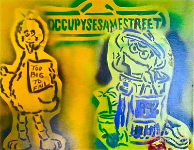Liberal Painting - Occupy Big Bird And Grouch by Tony B Conscious