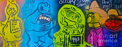 Liberal Painting - Occupy Sesame Street by Tony B Conscious