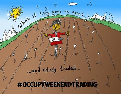 Occupy Mixed Media - Occupy Weekend Trading Cartoon by OptionsClick BlogArt
