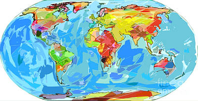 World Map Painting - Ocean Currents World Map by David Lloyd Glover