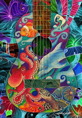 Clown Fish Drawing - Ocean Dream Guitar by Julie Oakes