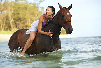 Ocean Horseback Rider Art Print by Vince Cavataio
