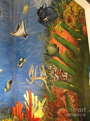 Under The Red Wall Painting - Ocean Mural With Diver by Sandy  Hurst
