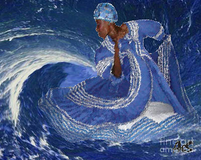 Yemaya Mixed Media - Ocean Queen By Aes by Liz Loz