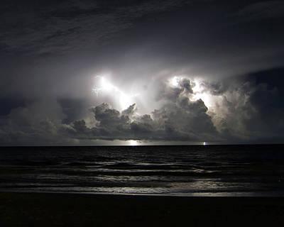 Lightning Photograph - Ocean Storm 1 by Ethan  Bryant