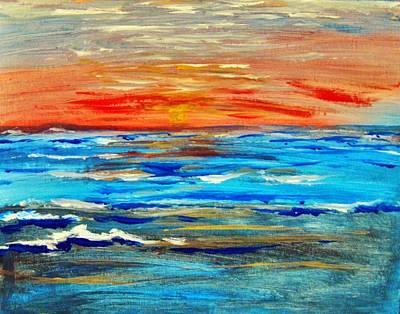 Art Print featuring the painting Ocean Sunset by Amanda Dinan