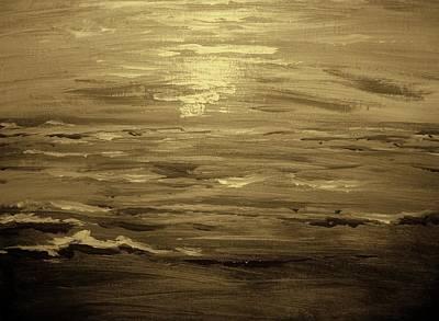 Art Print featuring the painting Ocean Sunset Blk Wht by Amanda Dinan