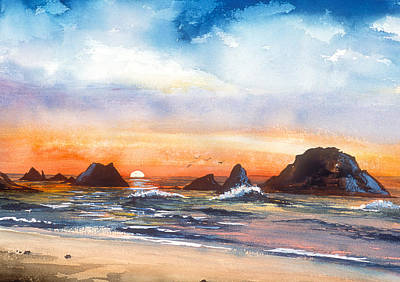 Painting - Ocean Sunset by Richard Mordecki
