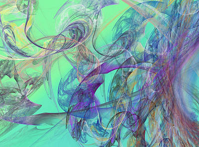 Green Color Digital Art - Ocean Symphony II by Betsy Knapp