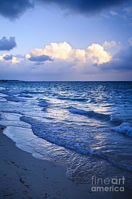 Ocean Waves On Beach At Dusk Art Print