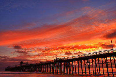 Pier Wall Art - Photograph - Oceanside Pier Sunset by Larry Marshall