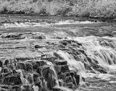 Photograph - Ocqueoc Wateralls Black And White by Peg Runyan
