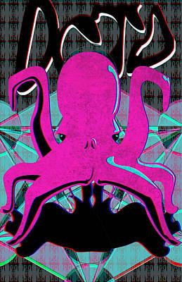 Wrap Digital Art - Octo 3d by Ian Tullock