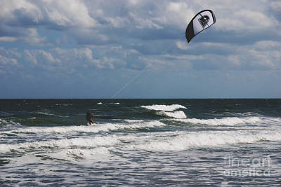 October Beach Kite Surfer Print by Susanne Van Hulst