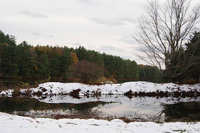 Photograph - October Snowfall At The Reservoir by Margie Avellino
