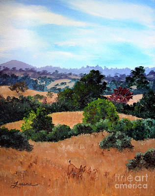 Bobcat Painting - October View Of Arastradero by Laura Iverson