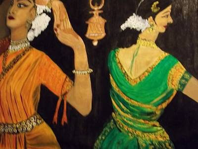 Bharatanatyam Painting - Odissi Dancers by Iris Devadason