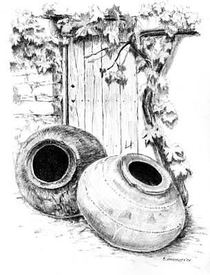 Old Door Drawing - Odou Pots by Bakhtiar Umataliev