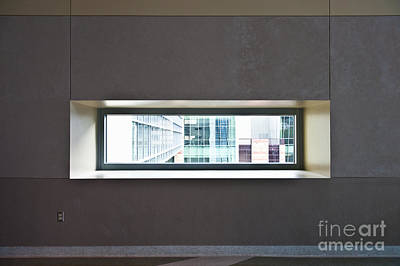 Office Buildings Seen Through Window Art Print by Dave & Les Jacobs