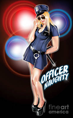 Drawing - Officer Naughty by Brian Gibbs