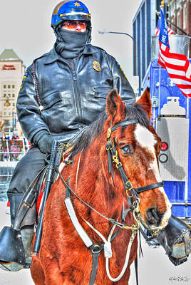 Amy Weiss - Officer on Brown Horse by Michael Frank Jr