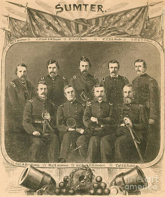 Officers Of The Union Garrison, Fort Art Print by Photo Researchers