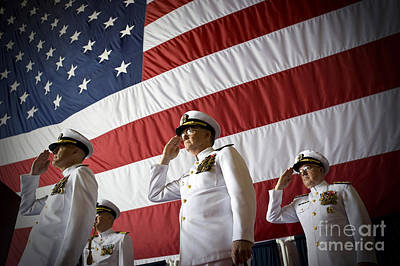 Officers Render Honors During A Change Art Print by Stocktrek Images
