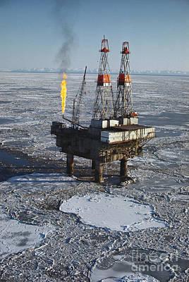 Offshore Oil Drilling Platform, Alaska Art Print