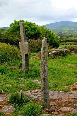 Photograph - Ogham Stone And Early Cross At Kilmalkedar by Van Corey