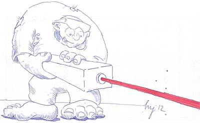 Drawing - Ogre With Laser Cartoon by Mike Jory