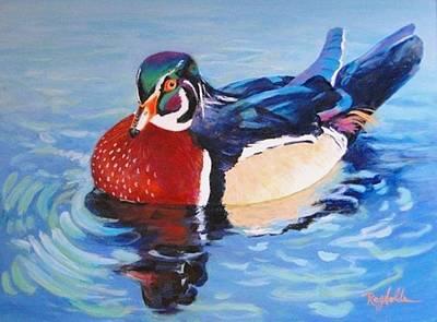 Oh So Blue - Wood Duck  Art Print by Carol Reynolds