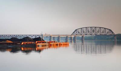 Ohio River Coal Barge II Art Print by Steven Ainsworth