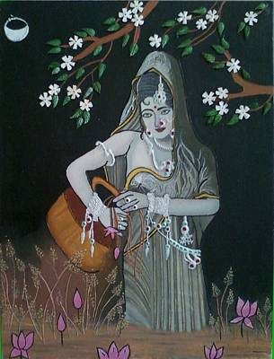 Painting - Oil Painting...a Lady With Pitcher by Priyanka Rastogi