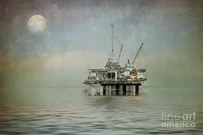 Oil Platform Under The Moon Textured Art Print by Susan Gary