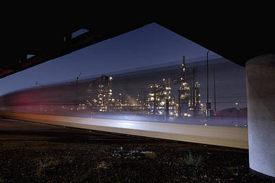 Oil Refinery And Train Blur Art Print by Mike Raabe