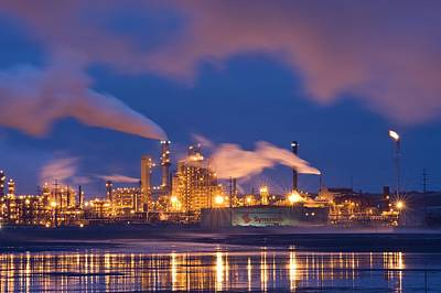Building Factory Photograph - Oil Refinery At Night by David Nunuk
