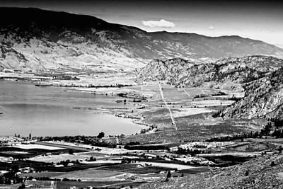 Okanagan Valley Black And White Art Print