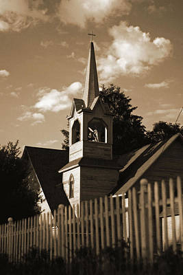 Art Print featuring the photograph Ol' Church On The Hill by Randall  Cogle