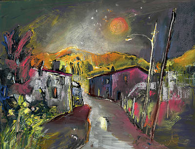 House Art Drawing - Old Albir By Night by Miki De Goodaboom