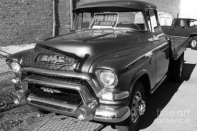 Old American Gmc Truck . 7d10665  . Bw Art Print by Wingsdomain Art and Photography