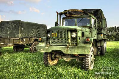 Old Army Truck In Field Art Print by Dan Friend