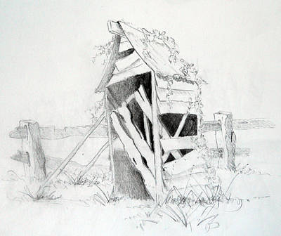 Fence Drawing - Old Aussie Outhouse by Carol McLagan